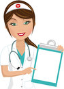 Beautiful nurse showing folder illustration featuring smiling presenting indicating blank isolated on white background eps file is Royalty Free Stock Photos