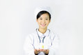 Beautiful nurse on a white isolated background smi female smile Royalty Free Stock Image