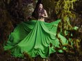 Beautiful nymph in fairy forest the fashion photo Royalty Free Stock Image