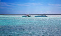 Beautiful ocean with blue sky and catamarans Royalty Free Stock Photo