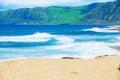 Beautiful ocean  coastline of Hawaii, waves crashing on beach Royalty Free Stock Photo