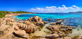 Beautiful ocean coastline panorama in Costa Smeralda, Sardinia Royalty Free Stock Photo