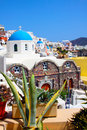 Beautiful oia church in santorini island village greece Stock Photo