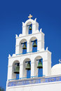 Beautiful oia church in santorini island village greece Stock Image