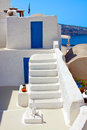 Beautiful oia in santorini island flight of stairs village greece Royalty Free Stock Images