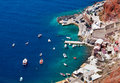 Beautiful oia in santorini island harbor village of greece Stock Photos