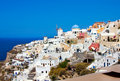 Beautiful oia in santorini island village greece Stock Image