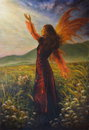 Beautiful oil painting of a fairy woman standing on a meadow female goddess in enchanting historical gown with her wings and one Stock Photo