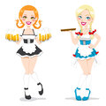 Beautiful Oktoberfest Waitresses Royalty Free Stock Images