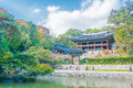 Beautiful and Old Architecture in Changdeokgung Palace in Seoul Royalty Free Stock Photo