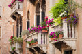 Beautiful old building balconies with colorful flowers Royalty Free Stock Photo
