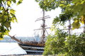 Beautiful old sailing ship at the pier in port Royalty Free Stock Photos