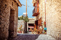 Beautiful old street at Kato Lefkara village. Larnaca District, Royalty Free Stock Photo