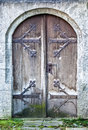 Beautiful old wooden door close up Stock Images