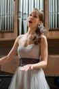 Beautiful opera singer sings Royalty Free Stock Photo