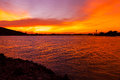 Beautiful Orange Sky Sunset in the sea Royalty Free Stock Photo