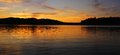 Beautiful orange sunset stuckley lake quebec canada Stock Photo