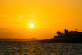 Beautiful orange sunset at tenerife island canari islands spain Stock Image