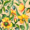 Beautiful orange and yellow welsh poppy flowers with green leaves on beige background. Seamless floral pattern.