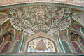 Beautiful ornament on wall of palace in Amber Fort in Jaipur
