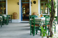 Beautiful outdoor cafe in greece Royalty Free Stock Images
