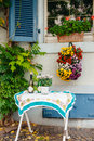 Beautiful outdoor german village street table out of a house in a in germany Stock Photo