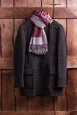 Beautiful overcoat with a scarf. Royalty Free Stock Photo