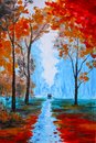 Beautiful painting, watercolor paint beautiful autumn in the forest