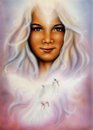 Beautiful painting of a young woman with a flying dove oil girl face subtle smile as radiant white haired goddess upon Stock Photography