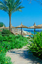 Beautiful palm beach sea blue sky ras um sid sharm el sheikh near royal grand sharm hotel ex iberotel sunrise hotel Stock Images