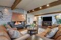 Beautiful panorama house interior, great/family room Royalty Free Stock Photo