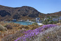 The beautiful panorama at lendas crete sea and colors of a remote village in Stock Photos