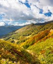 Panorama mountain landscape with blue sky and white clouds Royalty Free Stock Photo