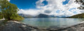 Beautiful panorama view of lake and mountain, Queenstown, South Island, New Zealand Stock Photo
