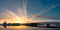 Beautiful panoramic sunrise in city Stock Photo