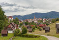 Beautiful panoramic view of the mountain village Bermersbach. Royalty Free Stock Photo