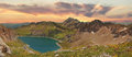 Beautiful panoramic view to lunersee and austrian alps at sunset scenery Stock Photography