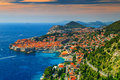 Beautiful panoramic view of the walled city,Dubrovnik,Dalmatia,Croatia Royalty Free Stock Photo