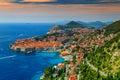 Beautiful panoramic view of the walled city,Dubrovnik,Dalmatia,Croatia Royalty Free Stock Photo