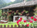Beautiful and particular wood house walser typical rock located in alagna valsesia alps italy Stock Photography