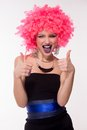 Beautiful party girl in pink wig Royalty Free Stock Photo