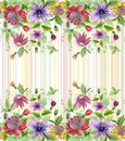 Beautiful passion flowers passiflora with green leaves on pastel striped background. Seamless floral pattern. Watercolor paintin
