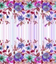 Beautiful passion flowers passiflora with green leaves on striped background. Seamless floral pattern. Watercolor painting.