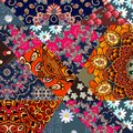 Beautiful patchwork pattern with flower - mandala and abstract tracery.