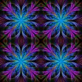 Beautiful pattern from fractal flowers. Blue and purple palette. Royalty Free Stock Photo