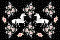 Beautiful pattern in russian style with horses and bouquets of flowers Royalty Free Stock Photo
