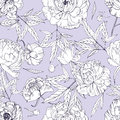 Beautiful peonies seamless pattern. Blossom flowers, buds and leaves. Black and white vector illustration.