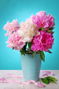 Beautiful peony bouquet in vase