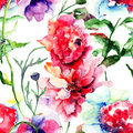 Beautiful peony flower seamless pattern with watercolor painting Royalty Free Stock Photo