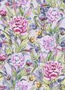 Beautiful peony flowers with buds and leaves in straight lines on light gray background. Seamless floral pattern.